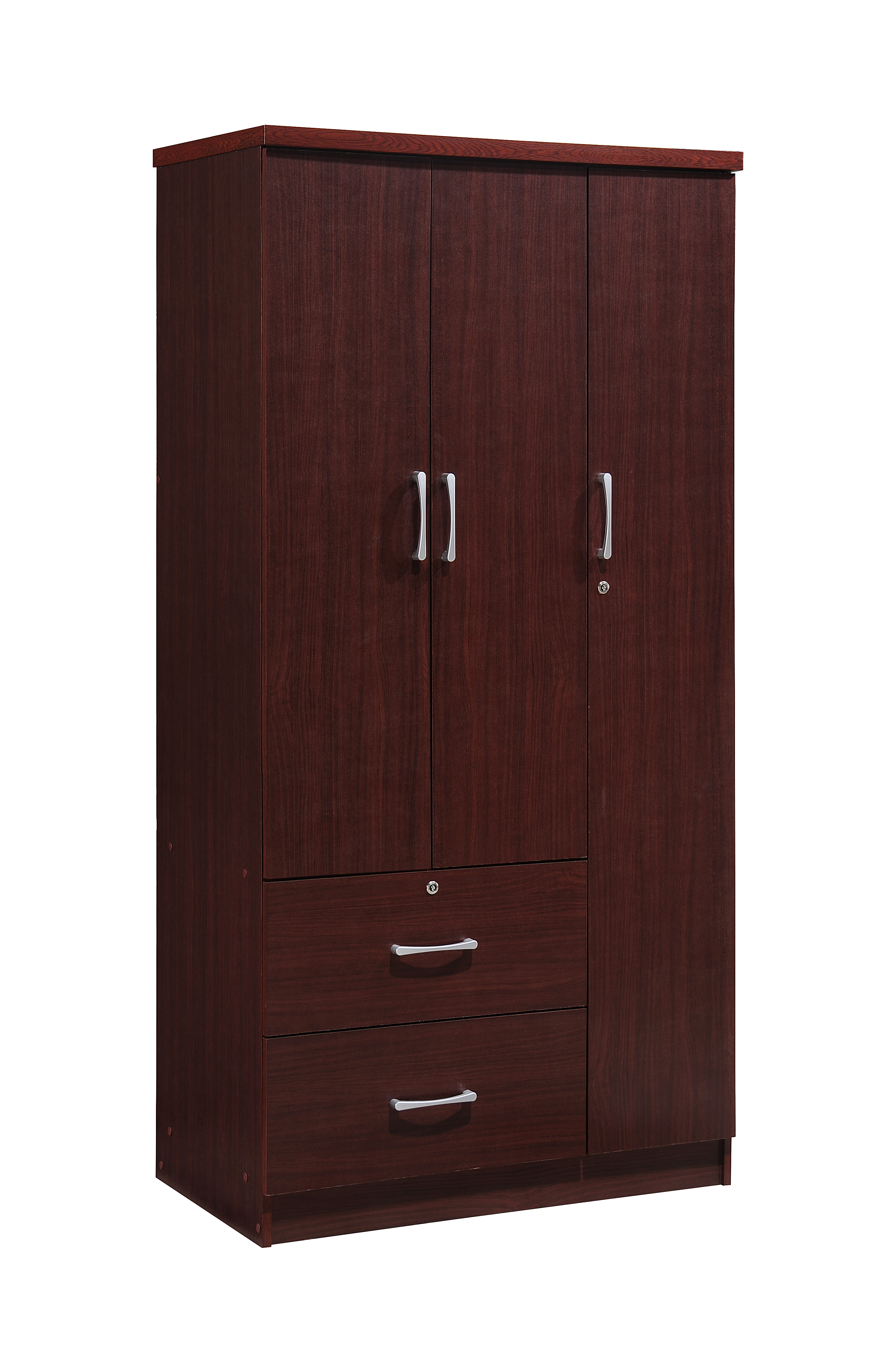 Hodedah 3-Door 36 in. Wide Armoire with 2-Drawers, Clothing Rod and 3-Shelves in Mahogany by Hodedah