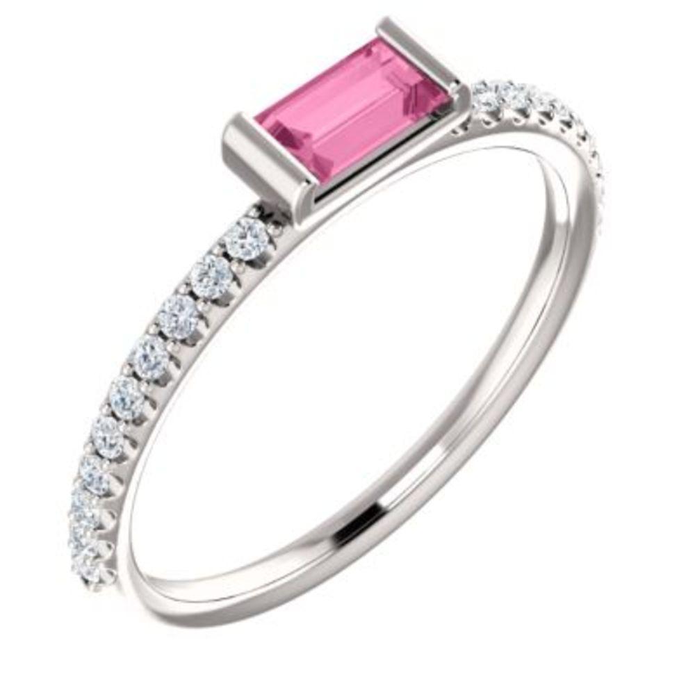 14K White Pink Sapphire & 1 6 CTW Diamond Stackable Ring by Bonyak Jewelry