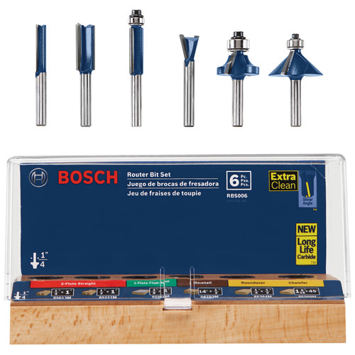 Bosch RBS006 1/4 in. Shank Carbide-Tipped Multi-Purpose 6-Piece Router Bit Set