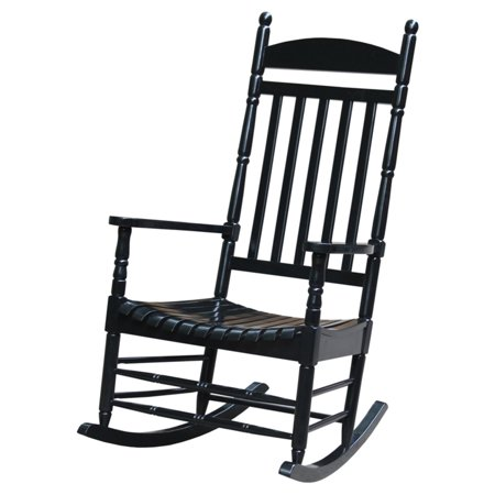 International Concepts Porch Rocker, Turned Post, Solid Wood, Black