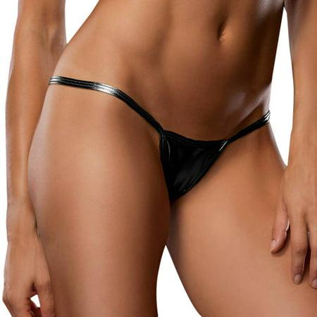 Vintage Metal Leather Thong - Women Bare Imitation Leather Underpants Lingerie Lady Bikini Thongs