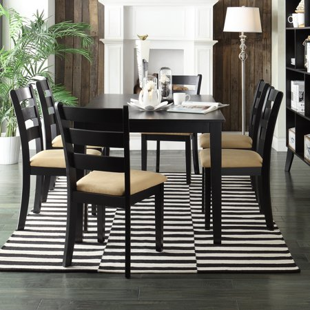 Lexington 7-Piece Large Dining Set with 6 Ladder Back Chairs