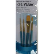 Art Supplies 9172 Real Value Short Handle Set, Synthetic Golden Taklon - Set Of 4