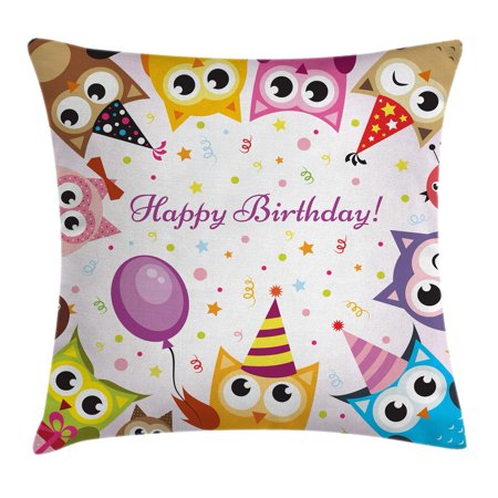 Birthday Decorations for Kids Throw Pillow Cushion Cover, Party Owl Family with Colorful Cone Hats on Confetti Backdrop, Decorative Square Accent Pillow Case, 16 X 16 Inches, Multicolor, by Ambesonne - Confetti Cones