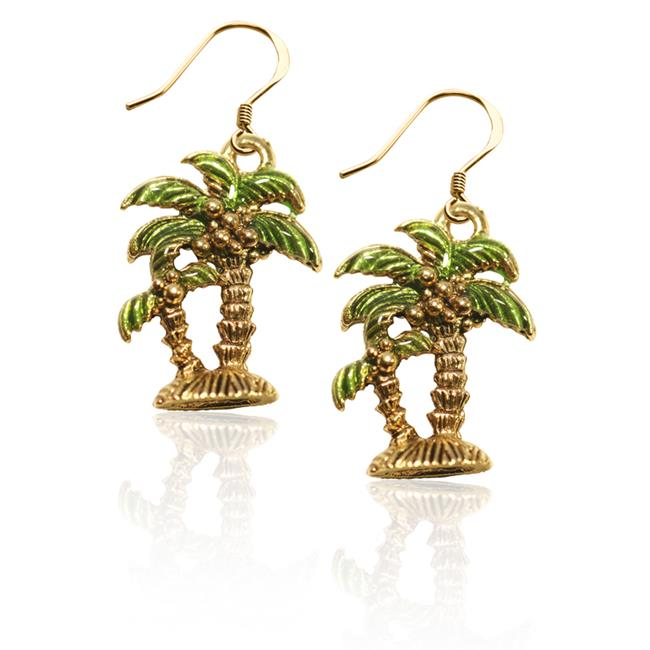 Whimsical Gifts 2550G-ER Palm Trees Charm Earrings in Gold