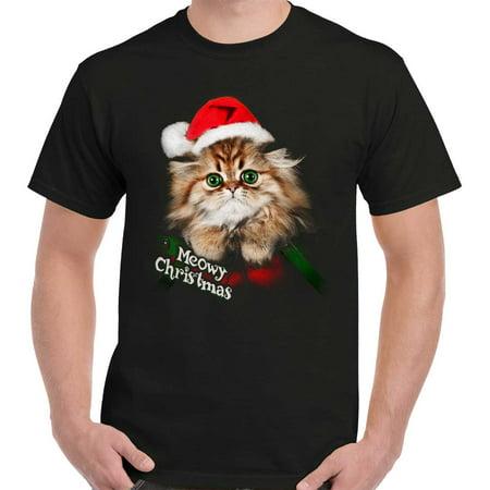 Meowy Christmas Shirt | Cute Cat Funny Kitten Gift Idea Santa T-Shirt Tee for $<!---->