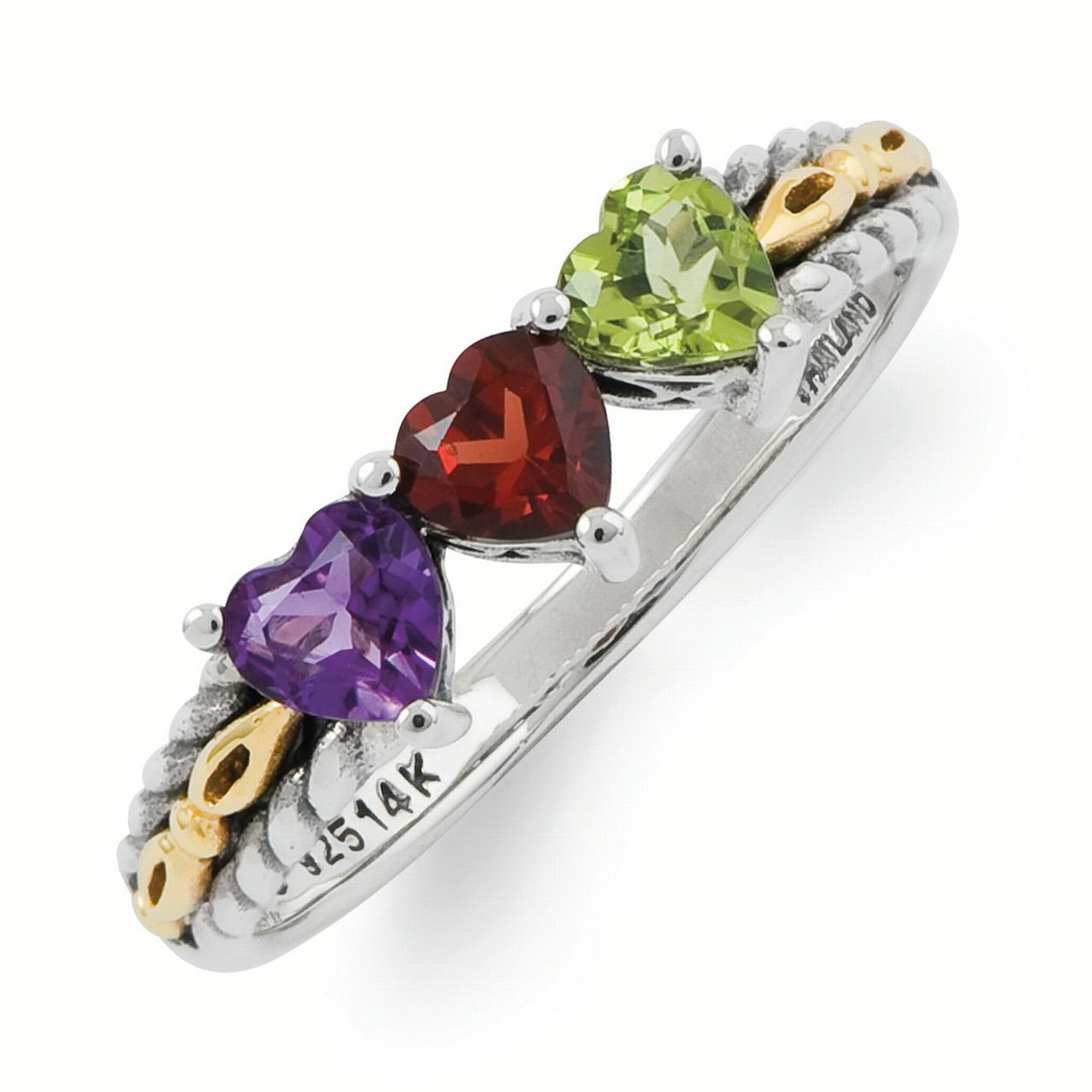 Sterling Silver & 14k Three-stone Mother's Ring Mounting