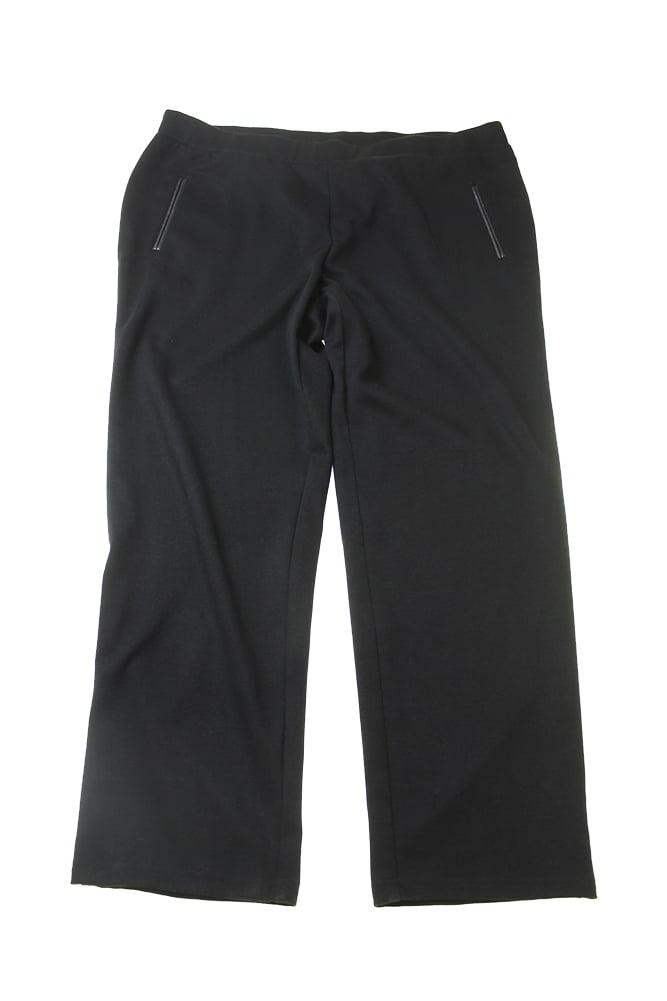 Jm Collection Plus Size Black Pleather-Trim Pull-On Pants W