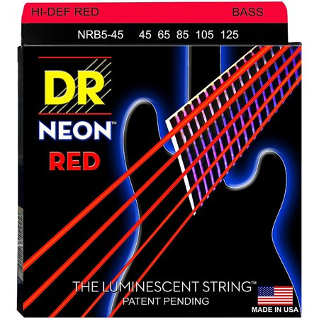 DR Strings Hi-Def NEON Red Coated Medium 5-String (45-125) Bass Guitar