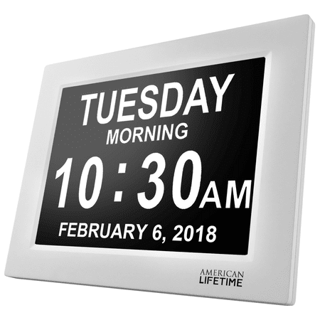 [Newest Version] American Lifetime Day Clock - Extra Large Impaired Vision Digital Clock with Battery Backup & 5 Alarm Options - White (Electronic Backup Alarm)