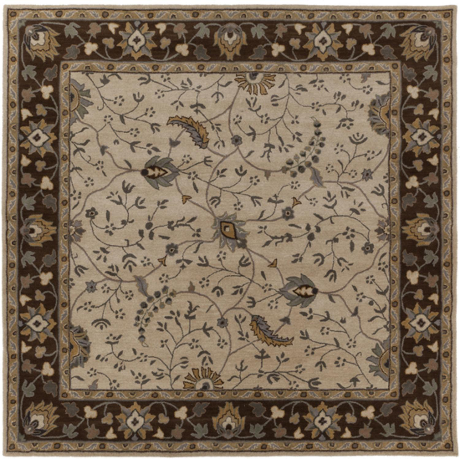9.75' x 9.75' Theodorius Desert Sand and Brown Hand Tufted Wool Area Throw Rug