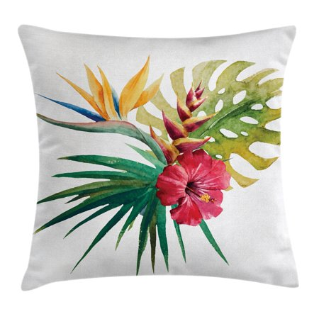 Floral Decor Throw Pillow Cushion Cover, Wild Tropical Orchid Flower with Large Leaves Exotic Petals Picture, Decorative Square Accent Pillow Case, 24 X 24 Inches, Ruby Forest Green, by Ambesonne