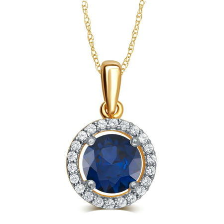 Elegant 0.38 Carat Created Blue Sapphire & White Sapphire Gemstone Necklace In 14K Yellow Gold Plated Blue Sapphire Platinum Necklace