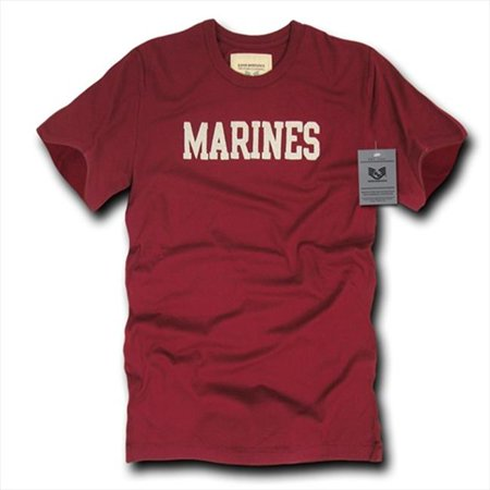Oceanside, Applique Military T-Shirts, Marines, Maroon, X-Large (Maroon Applique)