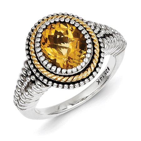 Sterling Silver Two Tone Silver And Gold Plated Sterling Silver w/Citrine Ring - image 3 de 3