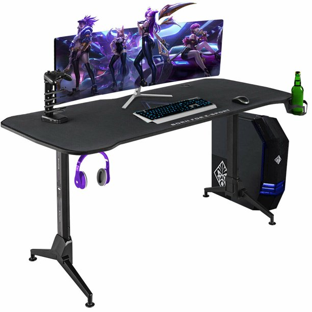 Gymax Gaming Desk 62.5'' T-Shape Height Adjustable w/ Mouse Pad