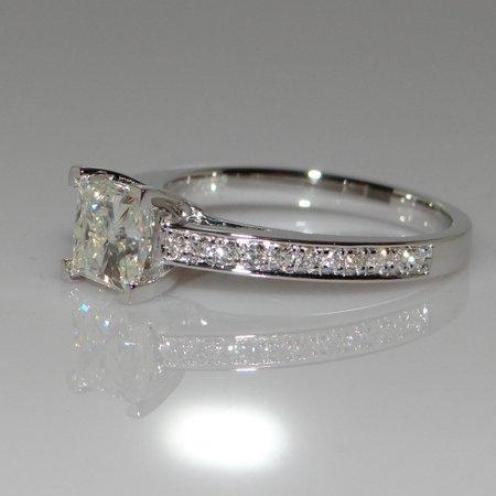 Princess Natural Gemstones White Birthstone Bride Wedding Engagement Ring 3 Stone Princess Ring Setting