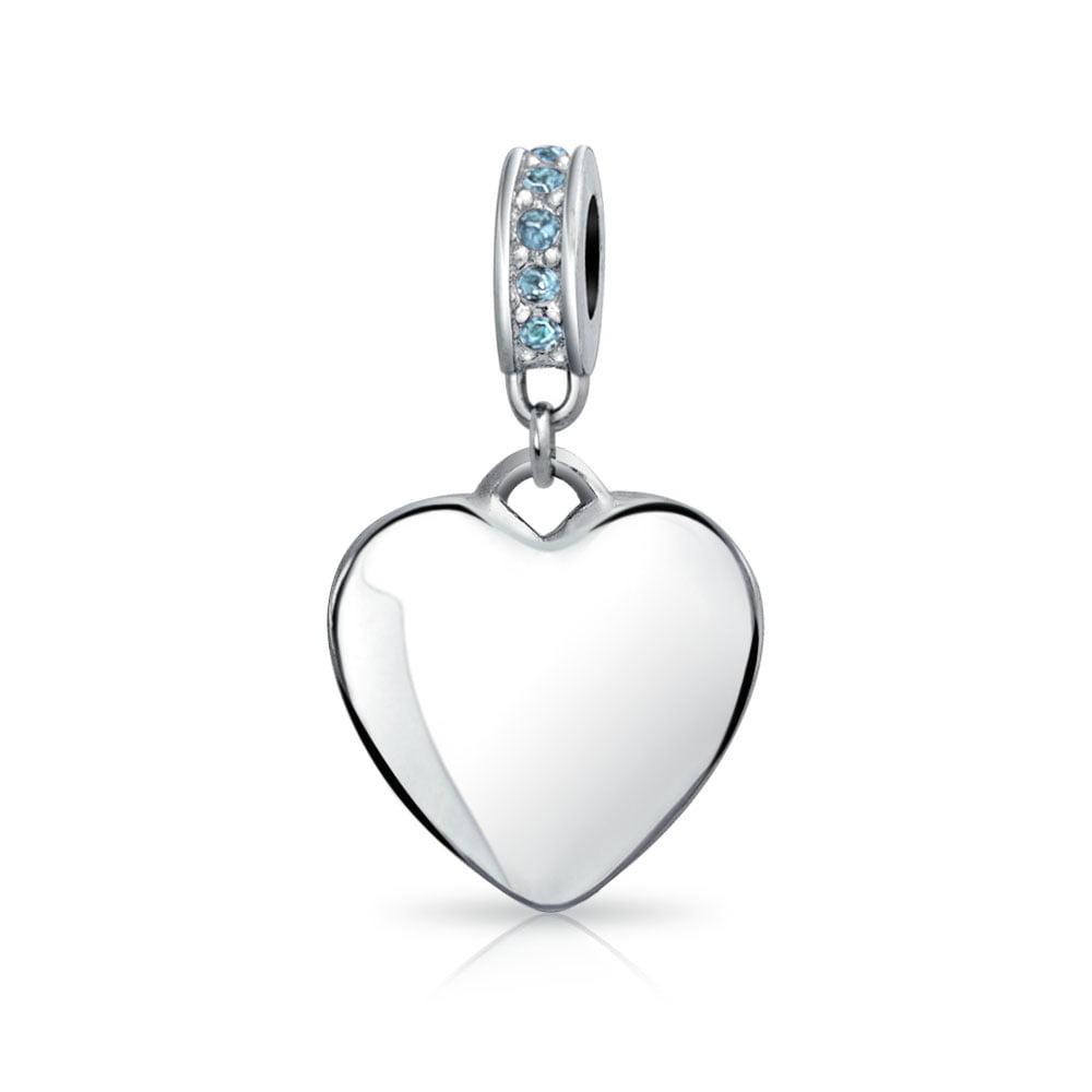 European Pink Crystal Dangle Heart Love beads Silver Charm for Bracelet apple
