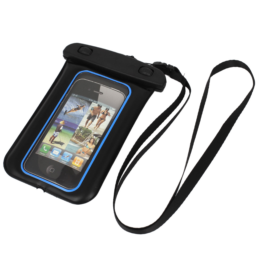 Unique Bargains Waterproof Case Dry Bag Cover Skin Pouch Blue + Neck Strap for Cell Phone