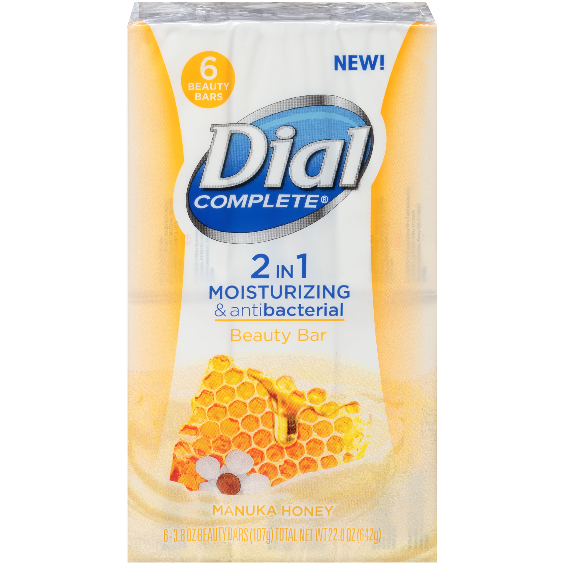 Dial Complete 2 in 1 Moisturizing & Antibacterial Beauty Bar, Manuka Honey, 3.8 Ounce, 6 Bars