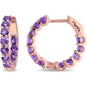 2-3/8 Carat T.G.W. Amethyst Rose Rhodium-Plated Sterling Silver Clip-Back Hoop Earrings