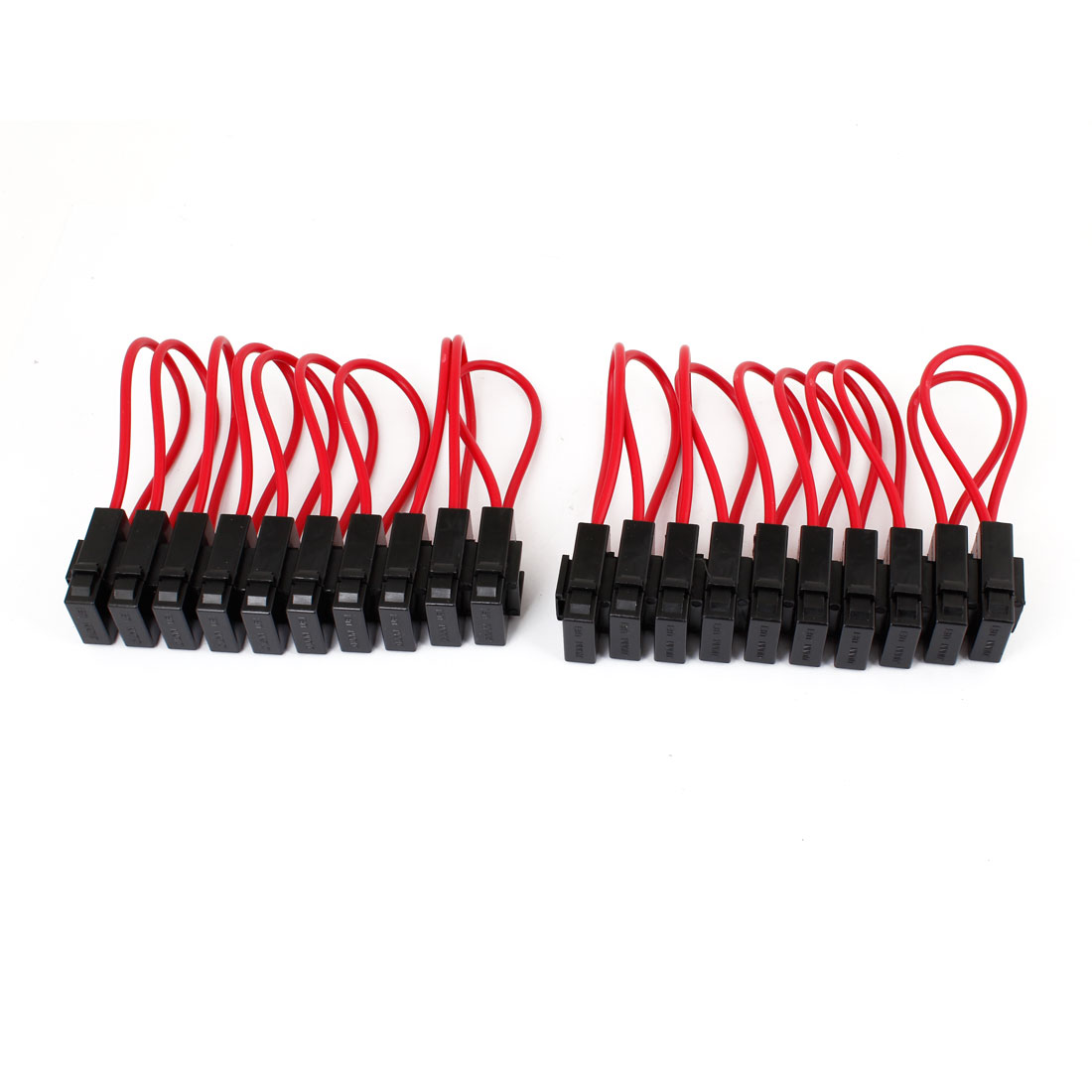 20 Pcs Auto Car Sound Audio Inline Blade Fuse Holder Block Black Red 12V