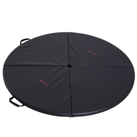 "Soozier 2"" T x 5' W Round Folding Portable Pole Dance Crash Mat - Black"