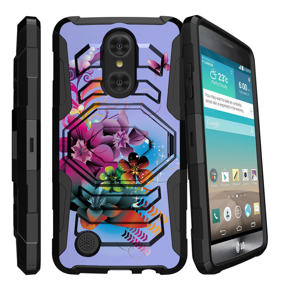 LG Aristo | LG K8 (2017) | LG LV3 MS210 Case [ Armor Reloaded ] Heavy Duty Rugged Phone Case with Holster + Kickstand - Purple Flowers