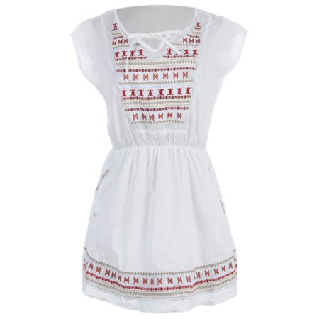 Ethnic Inspired Clothing (S/M Fit White Ethnic Inspired Print Bib and Trim Tie Neckline Dress)