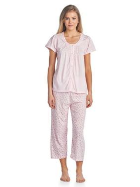 1340ea3ab6 Product Image Casual Nights Women s Button Front Short Sleeve Capri Pajama  Set