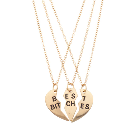 Lux Accessories Best Bitches BFF Friends Forever Heart 3 PC Necklace