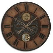 """23"""" Weathered Finish and Cast Brass Internal Pendulum Wall Clock"""
