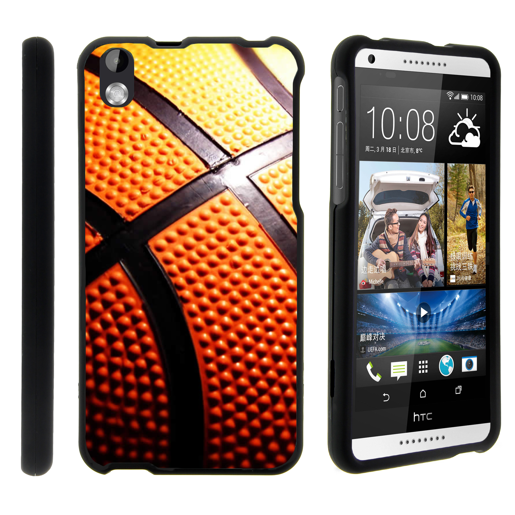 HTC Desire 816, [SNAP SHELL][Matte Black] 2 Piece Snap On Rubberized Hard Plastic Cell Phone Case with Exclusive Art - Close Up Basketball