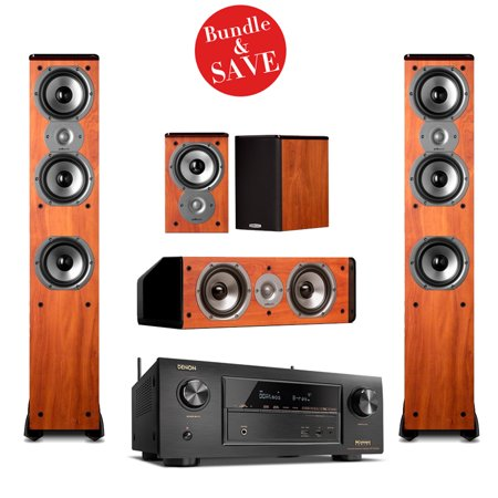 Denon AVR-X3300W Receiver with Polk 5 0 System TSi400 Pair, CS10 Center,  and TSi100 Pair in Cherry