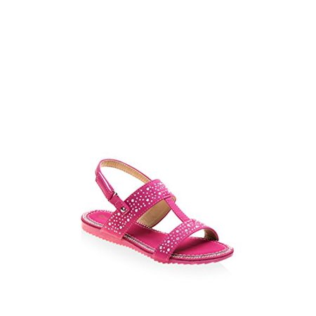 Laura Ashley Kid's Beaded Sandal, Fuschia, 3 M US Little (Fuschia Kids Sandals)
