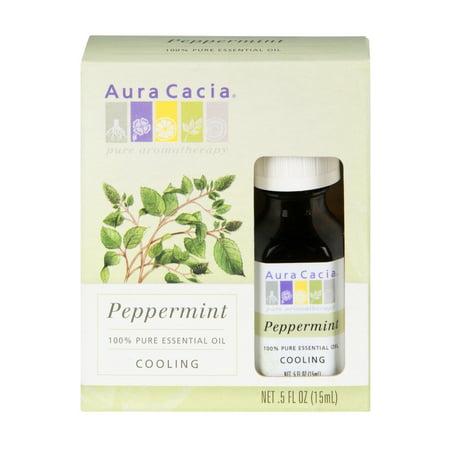 Aura Cacia Peppermint Cooling 100% Pure Essential Oil, 0.5 FL OZ
