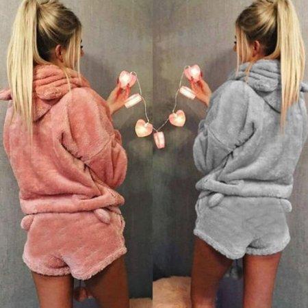 HOT Women Cute Cat Long Sleeve Warm Hoodie Top Shorts Sleepwear Pajamas Set Fashion - image 3 of 5