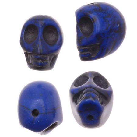 Dark Lapis Blue Magnesite (Dyed)  Gemstone Beads Carved Skulls 13.5x10.5mm (20)