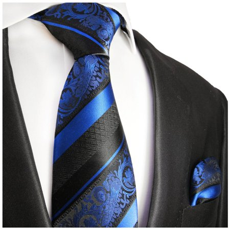 Paul Frank Tie - Paul Malone Royal Blue and Black Silk Tie and Pocket Square