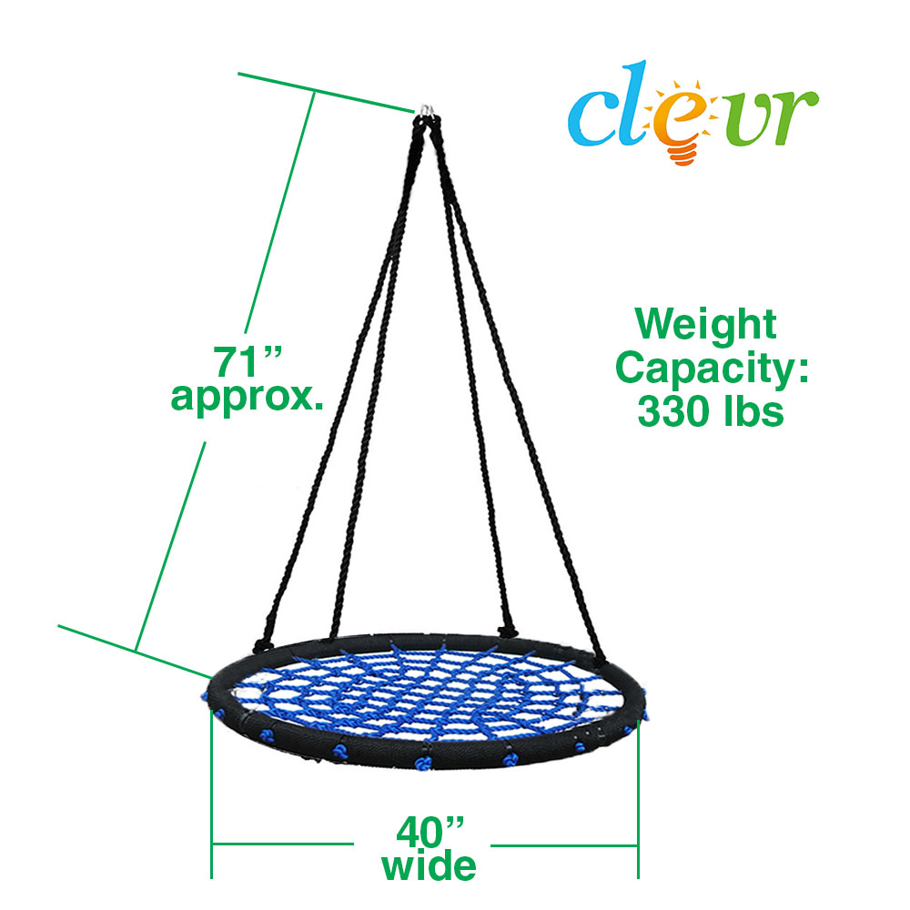 "Clevr 40"" Tire Web Swing 71"" Nylon Rope Swivel Tree Net Swing"