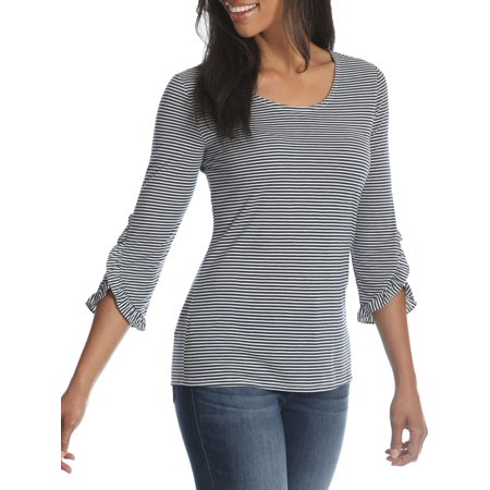 3/4 Sleeve Vest (Women's 3/4 Sleeve Heathered Stripe Knit Top )