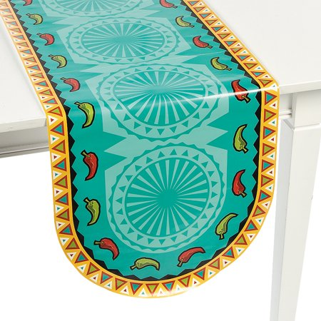 Mayo Table (Fun Express - Southwest Chilies Table Runner for Cinco de Mayo - Party Supplies - Table Covers - Print Table Covers - Cinco de Mayo - 1)