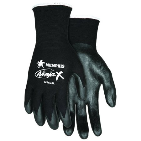 Memphis Glove N9674S Ninja X Nylon/Spandex Shell Gloves with Bi-Polymer Dipped Palm and Fingertips, Black, Small, 1-Pair ()