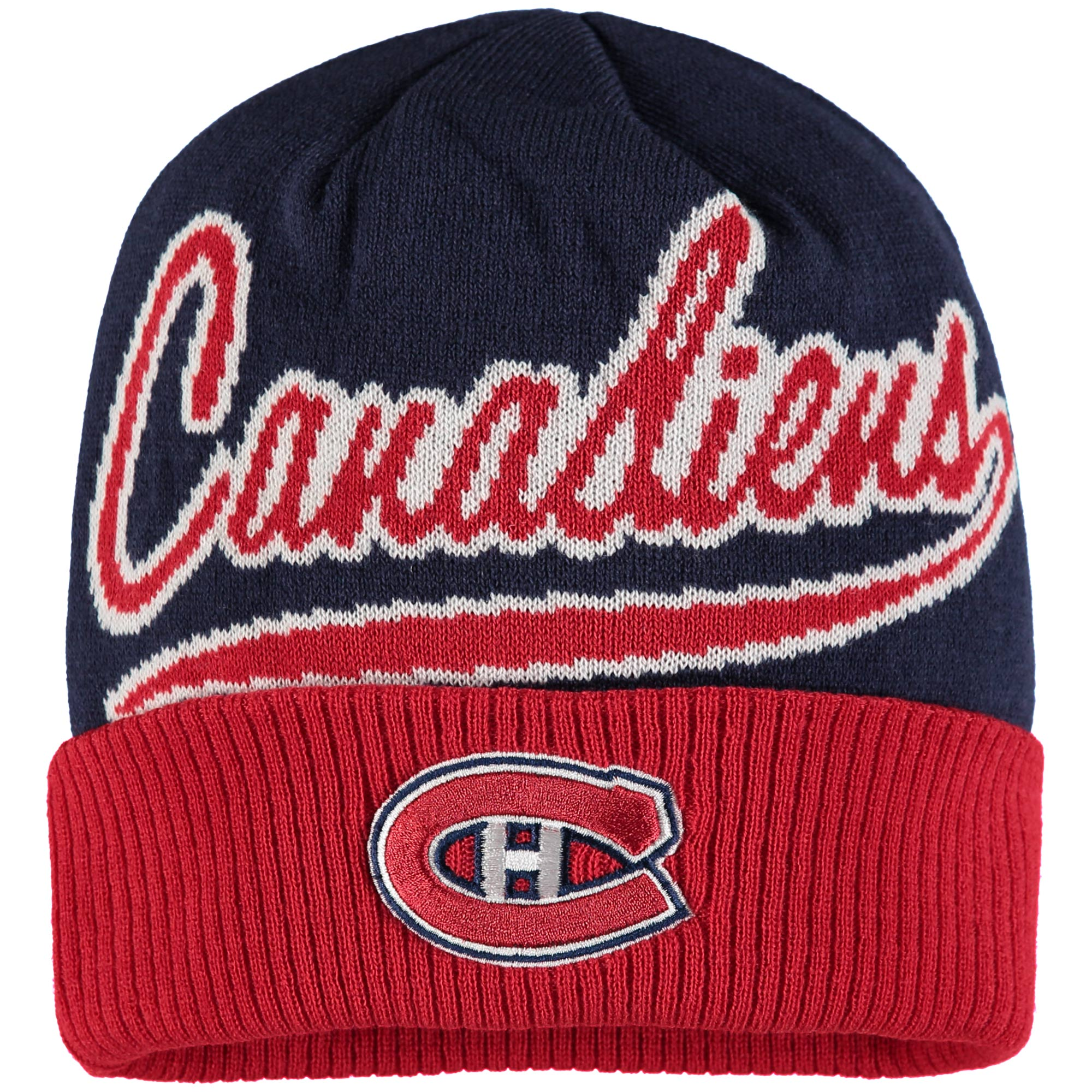 Montreal Canadiens Reebok Face-Off Jacquard Cuffed Knit Hat - Navy/Red - OSFA