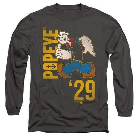 Trevco Sportswear PYE788-AL-2 Popeye & 29-Long Sleeve Adult 18-1 T-Shirt, Charcoal - Medium - image 1 of 1