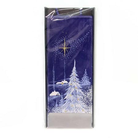 Christmas NIGHTIME WINTER SCENE W/STAR Wax Frosted Trees Fl013 - Christmas Winter Scenes