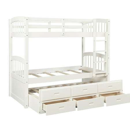 """Twin Bed Bunk Bed, Pretty Bunk Beds Twin Over Twin Size with Four-step Ladder, Guardrails, Trundle Twin, 3 Storage Drawers, Solid Wood Kids Bunk Beds for Boys Girls, 79"""" x 42"""" x 68"""", White, Q3585"""