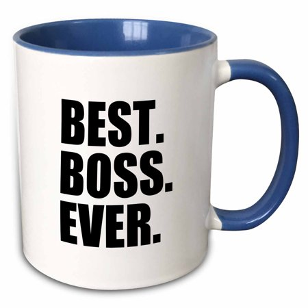 3dRose Best Boss Ever - fun funny humorous gifts for the boss - work office humor - black text - Two Tone Blue Mug,