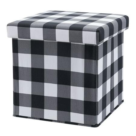 Astonishing Your Zone Collapsible Storage Ottoman Black Check Walmart Com Machost Co Dining Chair Design Ideas Machostcouk