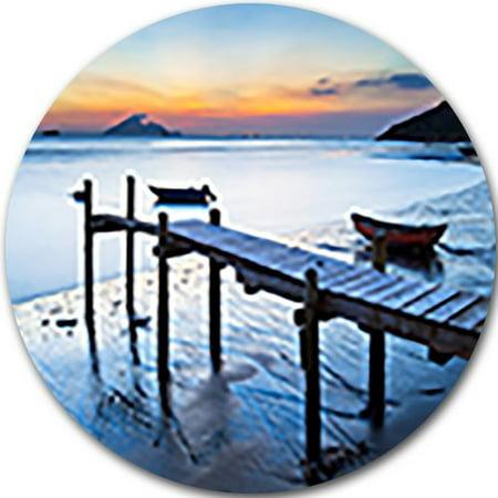 DESIGN ART Designart 'Old Wooden Pier in Bright Sea' Seascape Photo Disc Metal Artwork